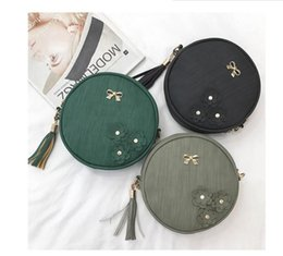Wholesale Fashion Women Messenger bags PU leather female small lady Tassel Bow Chain circular Shoulder bag round girl handbags