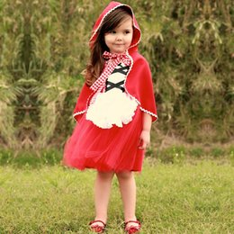 Ride Fancy Dress Australia - Baby Little Red Riding Hood Tutu Dress For Girl Party Princess Frock Girls Costumes Kids Fancy Ball Dress Infant Clothing 2 6t Y190516