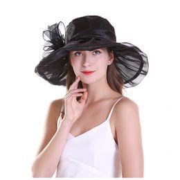 Fiber Garden Australia - Women's Silk Wide Brim Sun Hats Florals Large Brim Foldable Hat Mesh Sun Shading Garden Style Hat for Female Elegant Headwear
