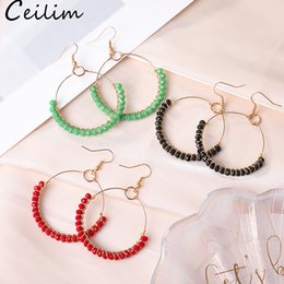 Discount big crystal hoops - Hoop Earrings With Colorful Glass Bead Circle Earring Simple Big Circle Gold Color Ear For Women South Korea Style Jewel