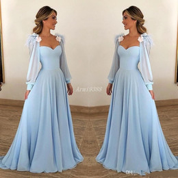 plus size evening dresses for weddings Australia - 2020 Sexy Sky Blue Mother of The Bride Dresses Long Sleeve Evening Gowns For Wedding Floor Length Formal Wedding Party Gowns Plus Size