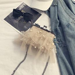 Ladies Clamps Australia - Korea Pearl Lace Shoulder Chain Women's Bag Fashion Iron Clamp Retro Trend Lady Bag Sweet Style
