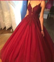 $enCountryForm.capitalKeyWord Australia - Women Fashion Red Spaghetti Ball Gown Lace Applique Evening Dress Lace Up Back Prom Dress For Formal Occasion Party Custom Plus Size
