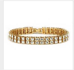 Amethyst Tennis Bracelet Silver Australia - Two rows of Diamond Men exaggerated bracelet bracelet all-water diamond nightclub jewelry
