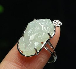 White Rose Crafts Australia - Jade 925 sterling silver inlaid emerald ring Myanmar natural A cargo jade lucky jade crafts wholesale