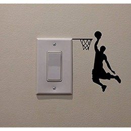 Cartoon Nature Australia - Basketball Player Cartoon Vinyl Switch Sticker Decor Lightswitch Decor Wall Decals
