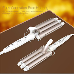 $enCountryForm.capitalKeyWord Australia - 110-240v Professional Triple Barrel Ceramic Hair Wave Waver Curling Iron Wand Tong Hair Pearl Waving Styling Tools Twiste Iron40MX190820