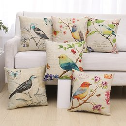 Traditional Linens Australia - Bird and Butterfly Theme Deco Pillow case Covers for Sofa Cotton Linen Cushion Covers SimpleDecor Jacquard Cute Traditional Chinese Painting