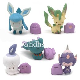 "old action figures Australia - Hot New 5Pcs Lot 1.4"" 3.5CM Ditto Metamon Glaceon Leafeon Misdreavus Chandelure Litwick PVC Action Figures Party Gifts Toys"