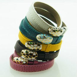 mouth bracelet NZ - Colorful Beauty Snake Scalp Bracelet Into The Real Mouth Leather Double Ring Leather Bracelet