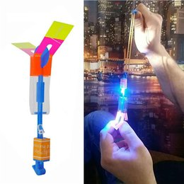 Flashing Ufo Toy Australia - LED Arrow Helicopter LED Amazing Arrow Flying Helicopter Umbrella parachute Kids Toys Space UFO LED Light Christmas Halloween Flash Toys ST2