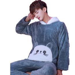 0ef0100593 Franela de invierno Coral Fleece pijamas conjunto de dibujos animados con capucha  caliente ropa de dormir ropa de dormir masculina hombres pantalones largos  ...