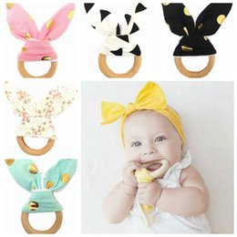 Discount baby teeth stick - Bunny Ear Teether Wooden Teething Ring Baby Teething Toy Child Chews Baby Teeth Stick Baby Care Tools 30 Designs 60pcs Y