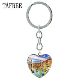 $enCountryForm.capitalKeyWord NZ - TAFREE Famous Venice View Keychains Car on Water Scenery Picture Heart Pendant Key Chain keyring man women Glass Jewelry FA215
