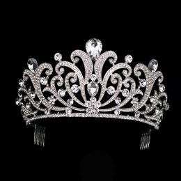 hair crowns for brides UK - Vintage Silver Crystal Tiara Wedding Big Crown For Bride Hair Accessories 2017 New Alloy Rhinestones Queen Crown Hair Jewelry J190701