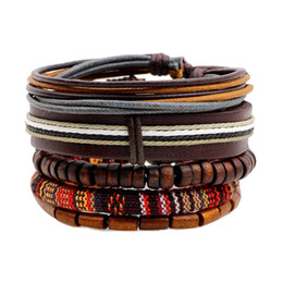 Wooden jeWelry sets online shopping - Ethnic set Wooden Beads Handmade Charm Men Woven Leather Bracelets Women Vintage Bangle Man Homme Jewelry Accessories