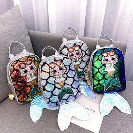 $enCountryForm.capitalKeyWord Australia - 4 colors Surprise mermaid laser backpack Children sequin Girls shoulder bag fish tail kids party bag school backpack satchel Bag DHL AJY674