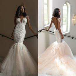 Lavender Blush Wedding Dress Australia - 2020 Plus Size Mermaid Wedding Dresses Spaghetti Lace Appliqued Vestidos De Novia Boho Wedding Dress Custom Backless Blush Pink Bridal Gown