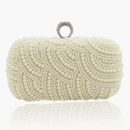 Hand Made Bags Style Australia - 2019 100% Hand Made Pearl Clutch Wallets Women Purse Diamond Chain White Evening Bags For Party Wedding S001