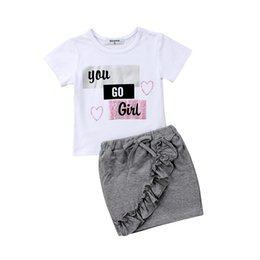 girls ripped shirts UK - 2 pieces You go Girl Short sleeve T shirt and Ripped Hole Denim Skirt Set For Toddler and Baby Girl Clothes