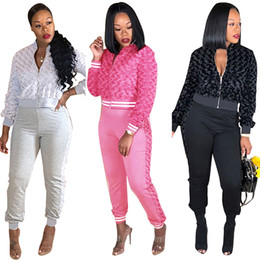tracksuit women zipper NZ - Newest Solid Women Two Pieces Casual Outfits Fashion Autumn Winter Zipper Jacket Long Sleeves Long Pants Tracksuits Clubwear