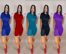 $enCountryForm.capitalKeyWord Australia - Womens Tracksuit sportswear outfits Two piece set Jogging Sports short sleeves shorts Suits Club wear sexy Sportswear women clothing klw1130