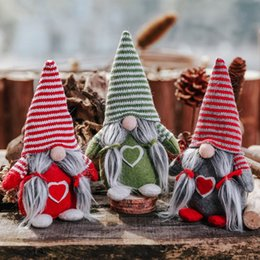 christmas tables NZ - Striped Hat Christmas Holiday Figurines Ornament Swedish Tomte Plush Doll Winter Table Decorations New Qgnv
