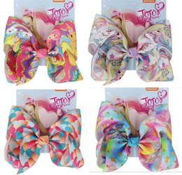 "ribbon print NZ - 8PCS LOT HOT 8"" large scale bow hair bow Alligator clip Mermaid Unicorn Print ribbon bow butterfly knot for Girl Hair Accessories"