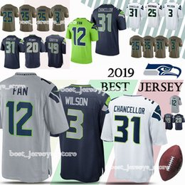df5771366 Seattle jerseys Seahawk 31 Kam Chancellor 12 Fan 3 Russell Wilson 25  Richard Sherman 20 Rashaad Penny jersey 2019