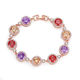 $enCountryForm.capitalKeyWord NZ - Indusleaves Fashion Jewelry New Beautiful Glisten Concentric Circle Bracelet for Women Girls Colorful Zirconia Chain Bracelet