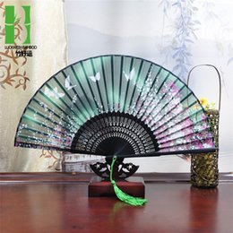 $enCountryForm.capitalKeyWord Australia - Summer Vintage Bamboo Folding Hand Held Flower Fan Chinese Dance Party Pocket Gifts Wedding Colorful Dropshipping
