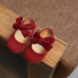 $enCountryForm.capitalKeyWord Australia - New spring and autumn red black artificial leather soft low-heeled bow-knot female baby princess toddler shoes