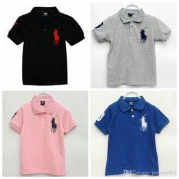 Venta al por mayor de 2019 bebés del verano del polo muchachos rematan la camiseta de manga corta camiseta del algodón de las muchachas del niño Camisetas de los niños Tees niños ropa para 2-7 años