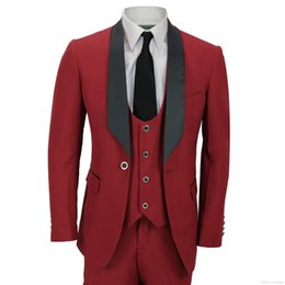 Customize Dark Red Groom Tuxedos High Quality Man Blazer Shawl Lapel Two  Button Men Business Dinner Prom Suit(Jacket+Pants+Tie+Vest) 922 845e27177