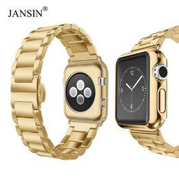 Apple Needle Australia - Luxury Stainless Steel Strap+case For Apple Watch 44mm 40mm 42mm 38mm Band Metal Bracelet For Iwatch Series 4 3 2 1 Wrist Belt T190620