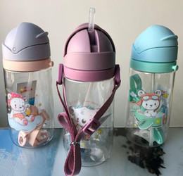 $enCountryForm.capitalKeyWord Australia - 520ml Portable Baby Kids Straw Water Bottle Leakproof Non-toxic Cartoon Clear Sports Cup With Straps Silicone Nozzle Outdoor Hiking Supply