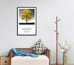 paintings yellow background NZ - A Big Tree Yellow Leaves Black And White Background Canvas Painting Posters And Prints Wall Pictures For Living Room Decoration