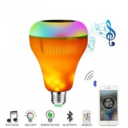 Wholesale B22 E27 Yellow Colorful LED Music Player Flame Effect Light Bulb Wireless Bluetooth Speaker with Wireless Remote Control