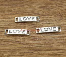Words Connectors Australia - Infinity Love Word Silver Connector Charm Link 100pcs lot Antique Silver Tone 28x7mm BS1935