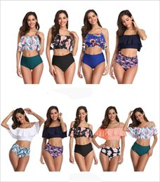 $enCountryForm.capitalKeyWord Australia - Sexy Women Print Ruffled Tankini Set Small Pendant High Waist Bikini Fashion Backless Swimsuit