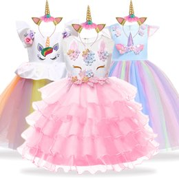 23182ae23f2 Pink colour girls dresses online shopping - Unicorn Party Kids Dresses For Girls  Elegant Princess Dress