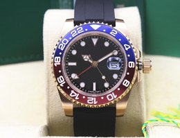 Pink ceramic watch online shopping - Factory Supplier K Pink Gold GMT Rubber Bracelet Sapphire Blue red Ceramic bezel MM Automatic Mens Watch Watches