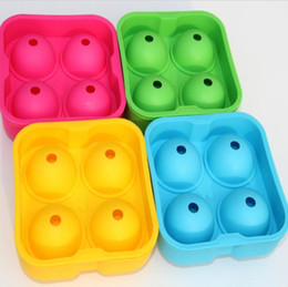 Ice Cubes Balls Australia - whiskey ice cube ball maker molds mould brick round food grade 4 cells silicone ice cube tray bar accessories
