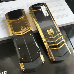 Wholesale cell phones for sale - Group buy New Arrive Luxury Gold Signature dual sim card Mobile Phone stainless steel leather body MP3 bluetooth metal Ceramics back Cell phone