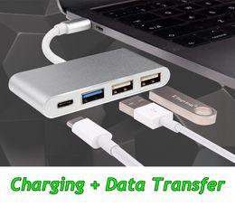 $enCountryForm.capitalKeyWord NZ - Type-C to Dual USB 2.0 + USB 3.0 Charging Data Transfer Converter HUB for Macbook Surface Pro Pad with OTG Power Supply