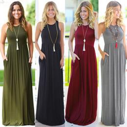 $enCountryForm.capitalKeyWord Australia - Women sleeveless vest Dress Pockets Sexy Boho Long Maxi Dress Ladies Summer Solid Color Beach Party Sun Maxi Dress