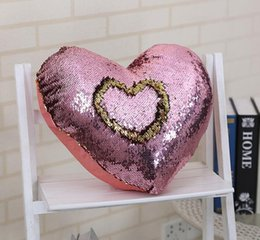 sequin cushions covers NZ - Fashion Cushion Cover Mermaid Sequin shiny Pillow Magical Discoloration pillow Cover Home Car Decorative Heart Pillow Case DHL Free Shipping