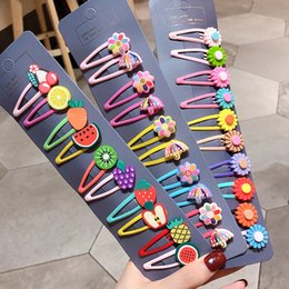 5cm children cartoon Australia - 10 15 Pcs  set girls cute cartoon animals fruit 5cm hairpins children lovely hair clips barrettes headband kids hair accessories