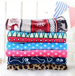 cat blankets Australia - Winter Dog Bed Mat Pet Cushion Blanket Warm Bone Print Puppy Cat Coral Velvet Beds For Small Large Dogs Cats Pad Chihuahua Bed
