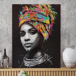 Modern pop art paintings online shopping - 1 Piece Abstract African Girl With Letters Wall Art Canvas Modern Pop Wall Graffiti Art Paintings Black Woman Cuadros Picture No Framed